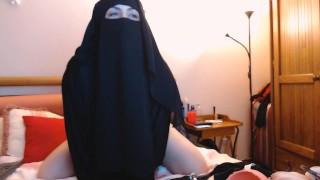 Arab Milf Wearing Hijab Rides Dildo