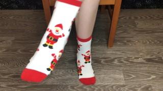 Happy new year socks girl snow foot and pov fetish