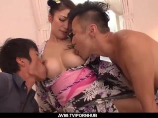 Reiko Kobayakawa sucks and fucks two horny men - More at 69avs com