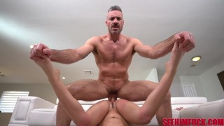 Hairy dilf stud Charles Dera fucks with the focus on him WITH RIMMING!