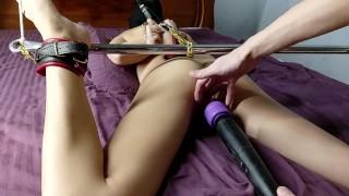 Bondage Skinny Bitch Into Extreme Back Arch. Orgasm Vagina Sucking Vibrator