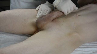 SKINNY Boy with huge cock CUMS twice on his esthetician. Wax with Handjob
