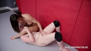 Sexy Ariel X lesbian wrestling vs rookie Riley Daniels owning that pussy