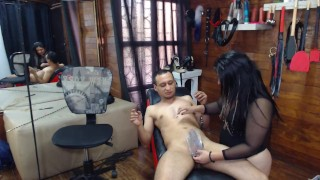torture his cock and making it flat very hard