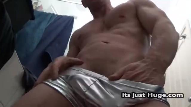 shiny shorts Fetish bulge Hung Big dick muscle guy in metalic tight shorts