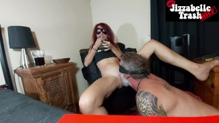 Trash MILF Slave eats my pussy while smoking weed