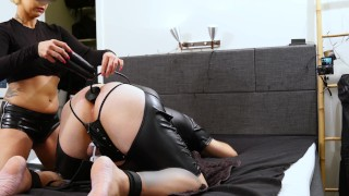Mistress ball teasing and inserting three dildos in anal chastity cage