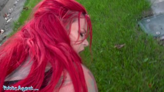 Public Agent Sabien Demonia gets her big tits out and pussy fucked