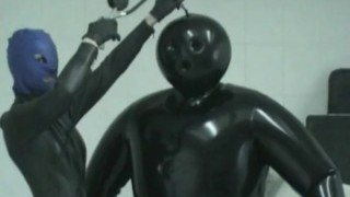 Heavy Rubber Latex Lesbian Inflateable Suit Breath Play Control Mask
