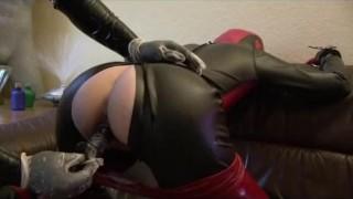 Rubber Slave Girl Piss Pants Mouthgag Latex Sheet Breath Control Anal Dildo