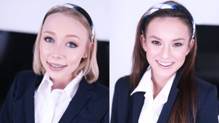 Screen Capture of Video Titled: SCHOOLGIRLS ATHENA MAY & ELLIE EILISH TRAIN AT THE SWALLOW ACADEMY