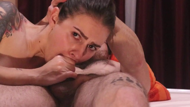 Two months did not jerk off and lowered a bunch of cum in her mouth