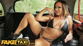 Fake Taxi Aussie body builder Aubrey Black gets her big tits sucked