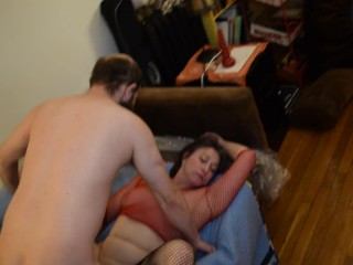 Slut MILF Sucking and Getting Face Fucked, Stranger While BF Watches