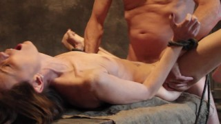 Sex Slave Gets Tied Up, Face Fucked and Spanked.
