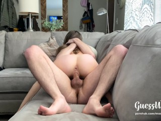 PAWG rides for creampie, fingers herself with his cum on parents couch
