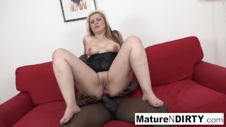 Sexy blonde MILF is anally fucked by a big black cock!