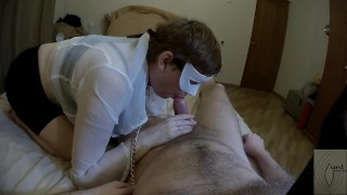 I made MILF next door sucked my cock. Rough blowjob on a leash (POV)