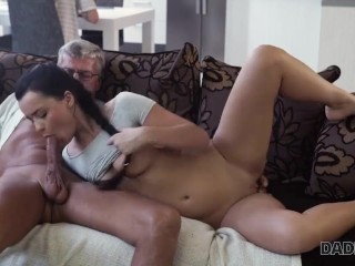 DADDY4K. Raven-haired angel Erica Black gets old and young sexual