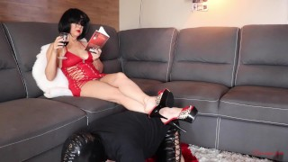 femdom chastity cuckold slave worships and sucks cruel goddess feet DAY#1