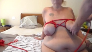 Jen gets her Big Tits Tied Up by John
