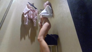 fitting room - girl showed pussy and big Breasts