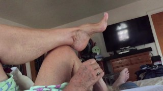 Granny Ann loves to show off her arches & feet while jacking me off