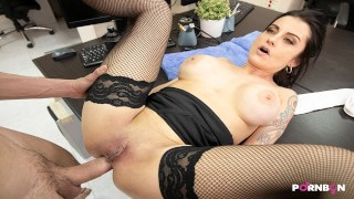 PORNBCN The big tits milf boss wants her ass fucked in the office 4k parody