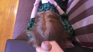 Cum on the stepsister's red hair while she watched instagram