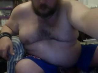 Wanking in my Blue Shorts