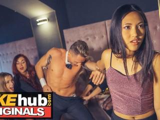 LADIES CLUB Asian Teen Swallows Stripper's Cum in Public Bathroom