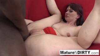 Hot brunette mature is craving an interracial creampie!