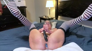 Hot Milf Masturbates With Black Rabbit And Anal Beads Legs Spread Wide
