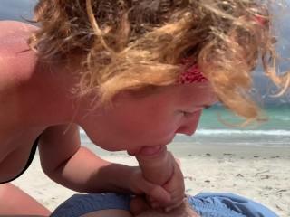Deep blowjob on the beach, girl in bikini sucking cock, cum mouth outdoors