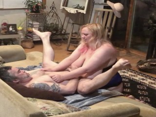 Hubby takes a hard pegging from my strapon cock