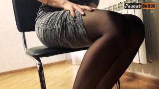 Secretary in pantyhose masturbating under table at work till orgasm