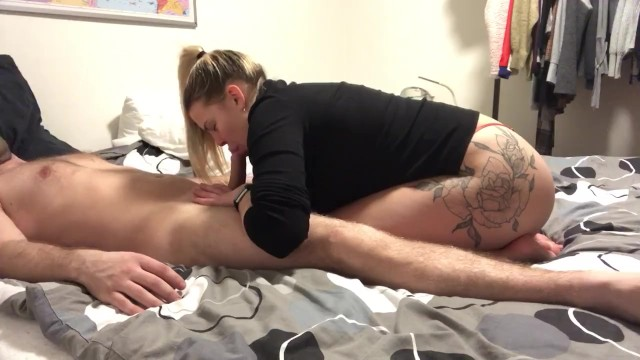 tattooed blonde oral creampie