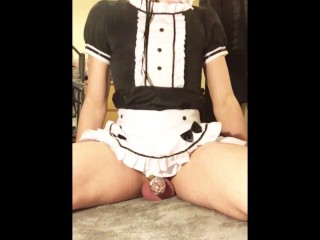 Trans maid unlocks chastity and teases so she can eat her own cum