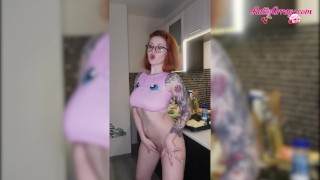 Busty Redhead Dances Naked on Kitchen - Soft Erotica