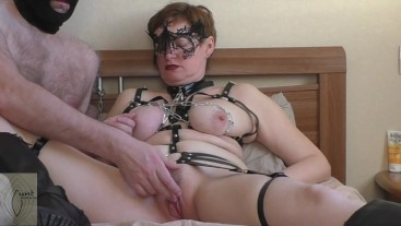 Submissive milf slut chained up and used in leather harness (FULL version)
