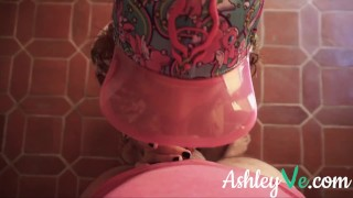 Sexy Redhead Gives POV Blowjob and gets a Facial - Ashley Ve