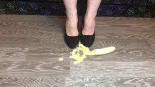 banana trample with black high heels food fetish