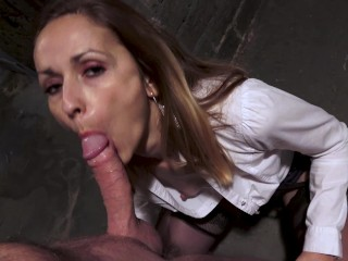 MILF fucked in the ass in a cellar with creampie