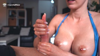 Girlfriend gives me an incredible slow teasing handjob with her magic hands