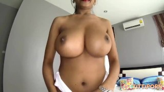 Big breasted Asian girl loves foreigner cock