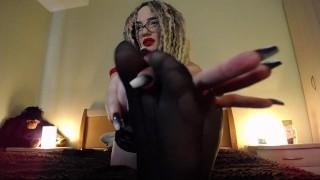 Hot teasing black nylon feet