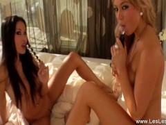 Pretty Lesbians Kissing In Europe While Making Deep Game