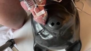 Latex puppy mask. Orgasm. Latex mask. Electro. Estim cbt