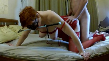 Red stockings, high heels and riding crop
