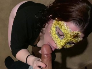 POV blowjob skills while gagging on his juicy cock